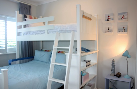 Third bedroom with bunk bed, bottom part is a double bed